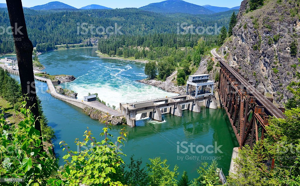 Box Canyon Dam in WA stock photo