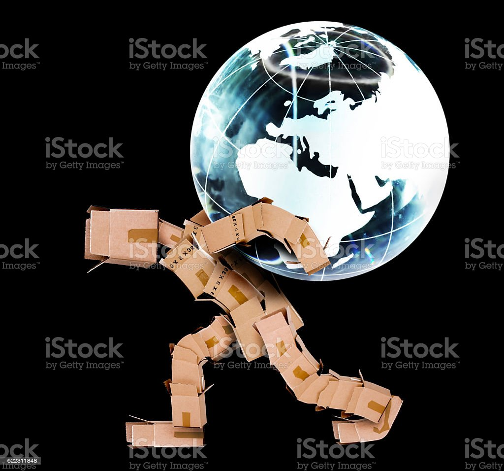 Box man carrying a globe stock photo