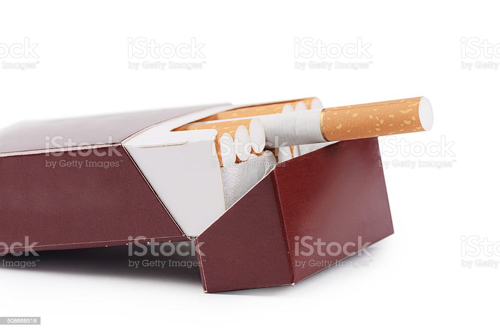 Box cigarettes isolated on a white stock photo
