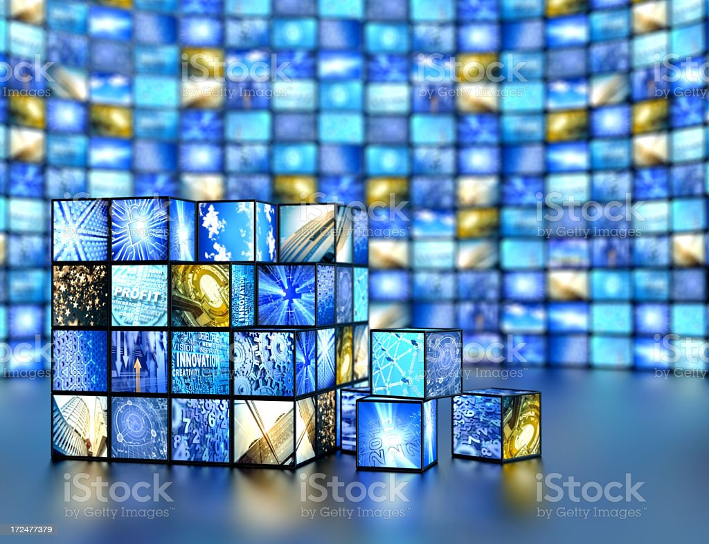 Box cube with media related images royalty-free stock photo