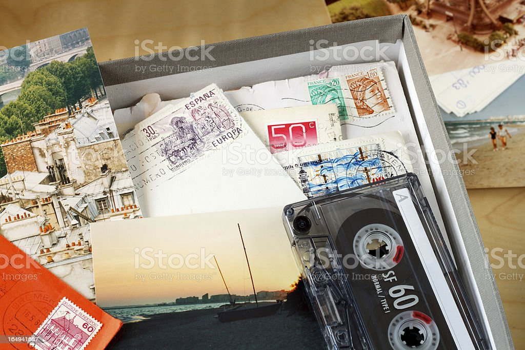 Box filled with memories stock photo