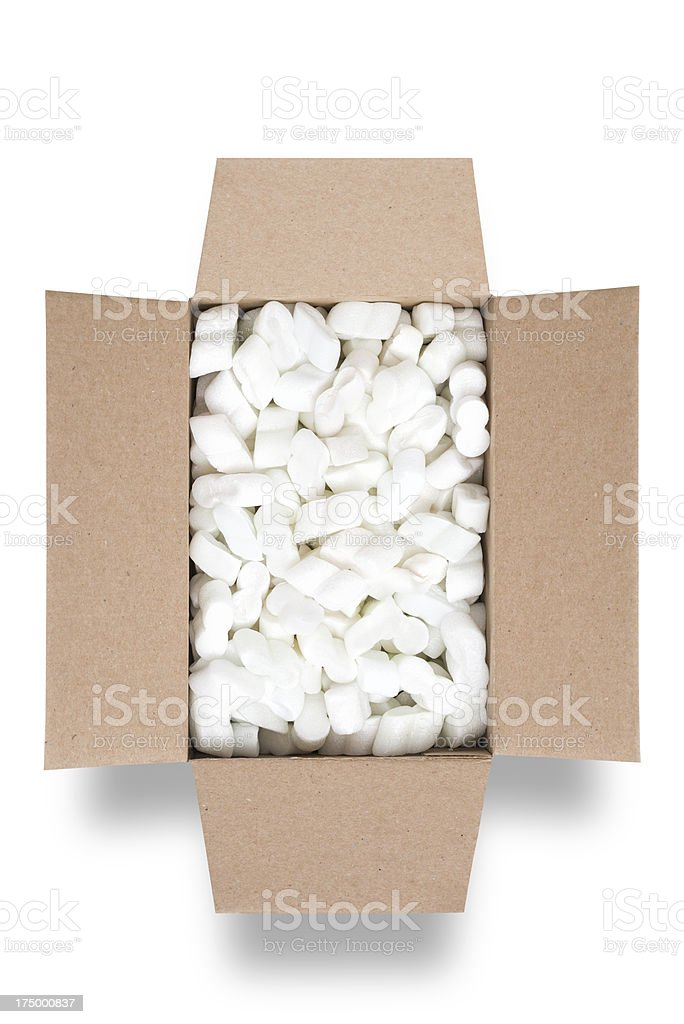 Box filled with packing material royalty-free stock photo