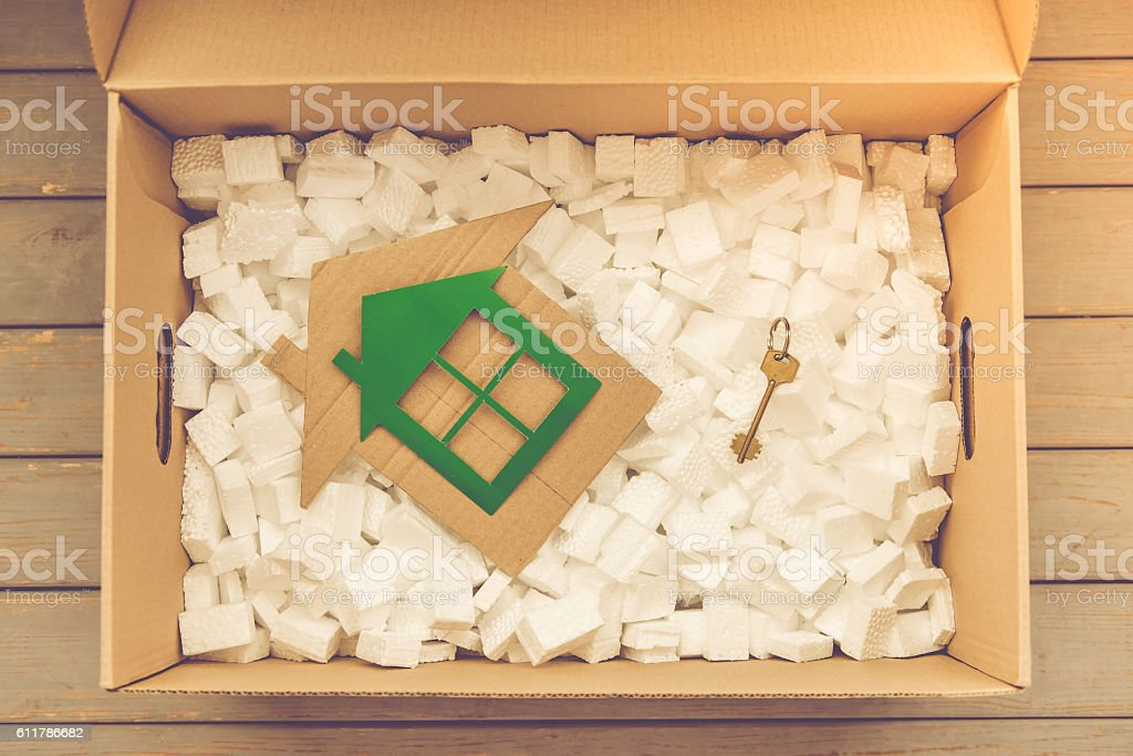 Box for moving stock photo