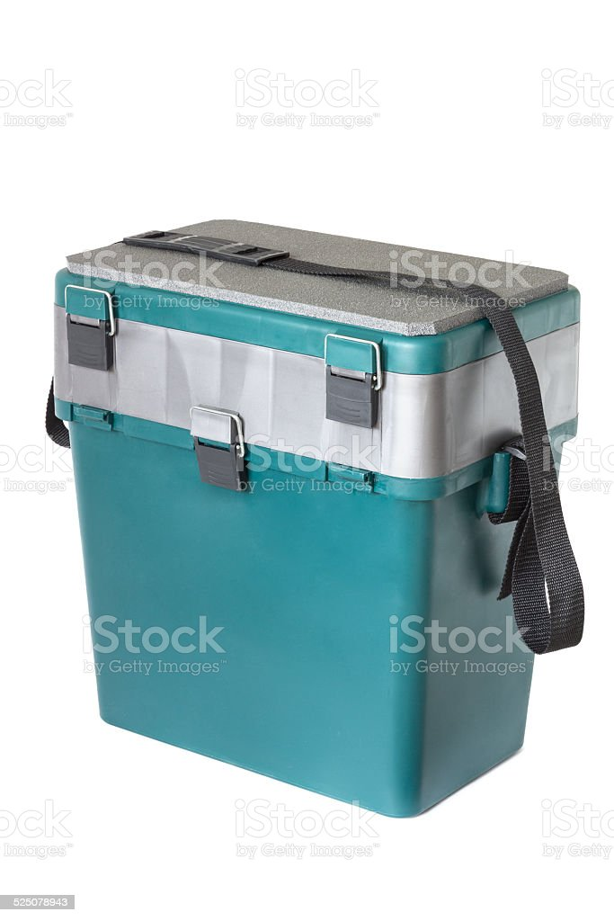Box for winter fishing stock photo
