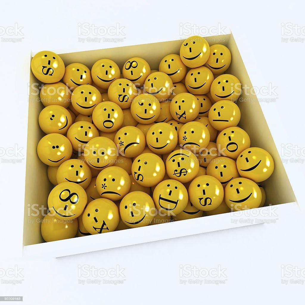 Box full of emoticons stock photo