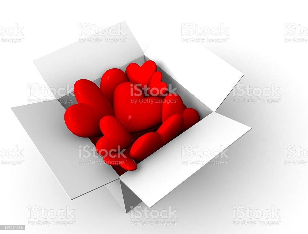 Box Full of Hearts royalty-free stock photo
