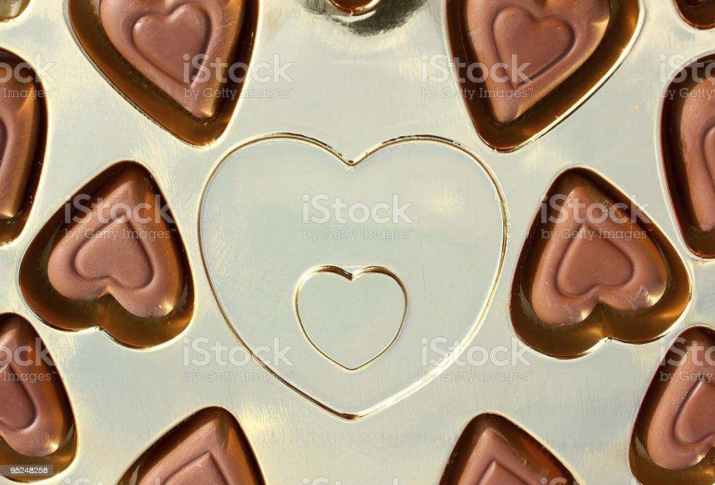 Box full of little chocolates stock photo