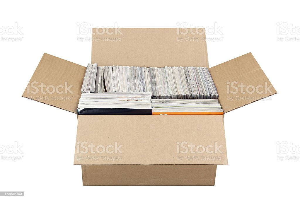 Box Full of Magazines stock photo