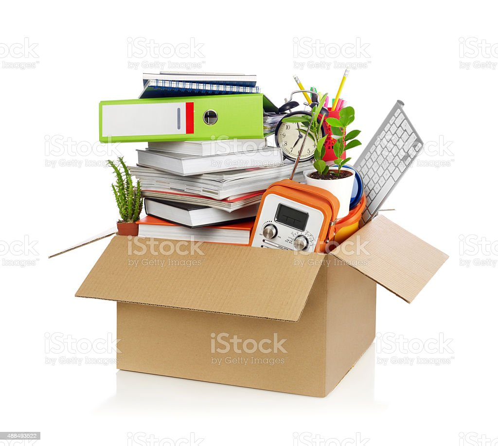 Box full of stuff stock photo