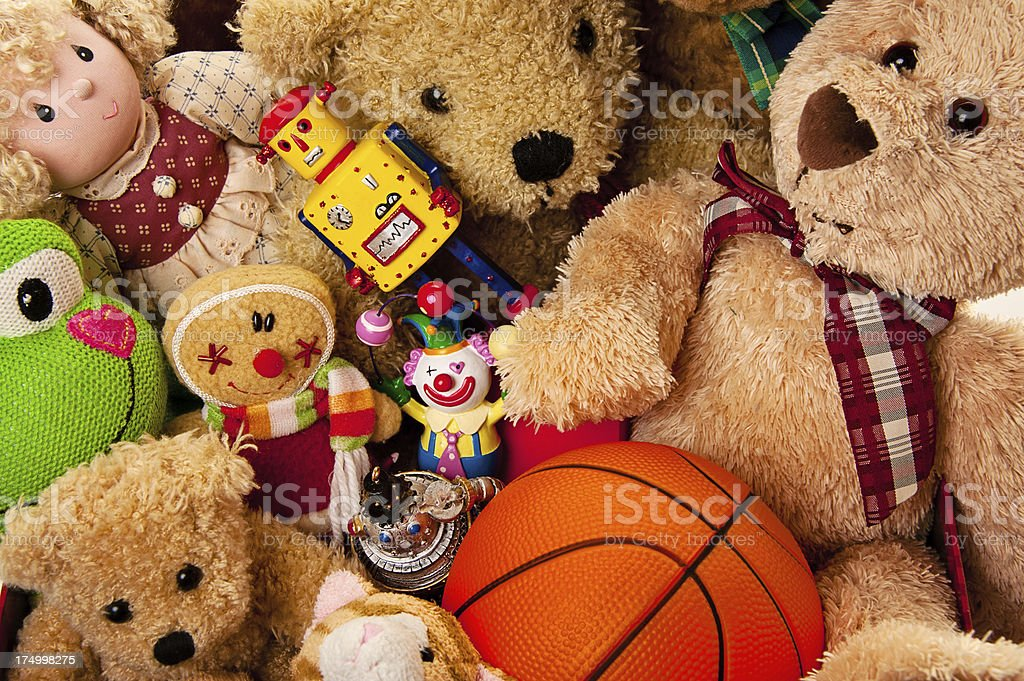 Box Full of Toys and Stuffed Animals stock photo