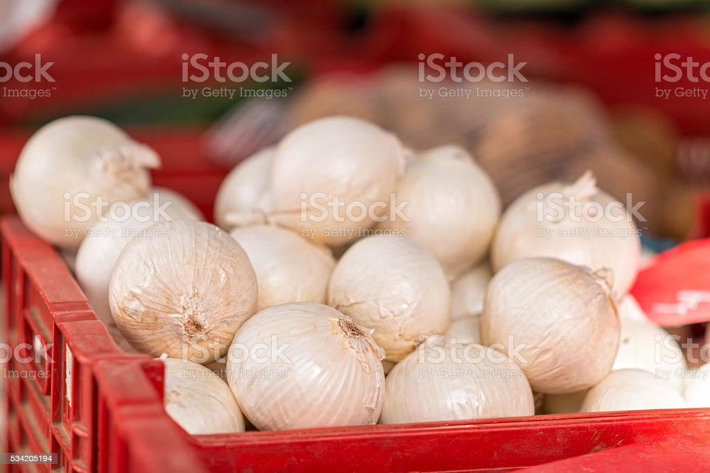 Box full of white kitchen onions on a market stock photo