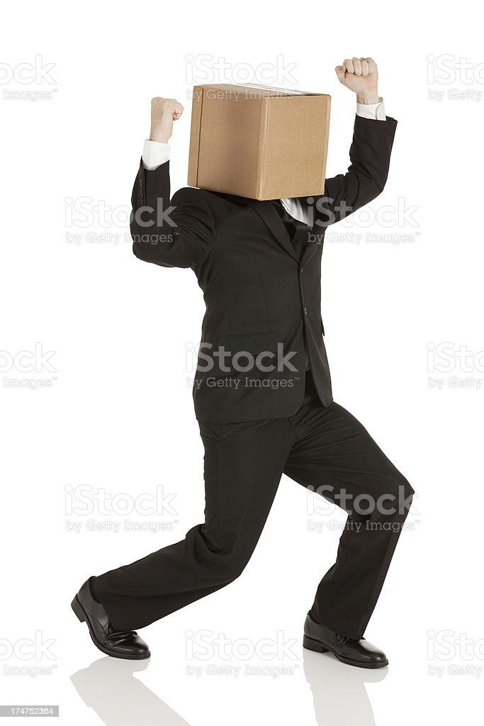 Box head businessman cheering royalty-free stock photo