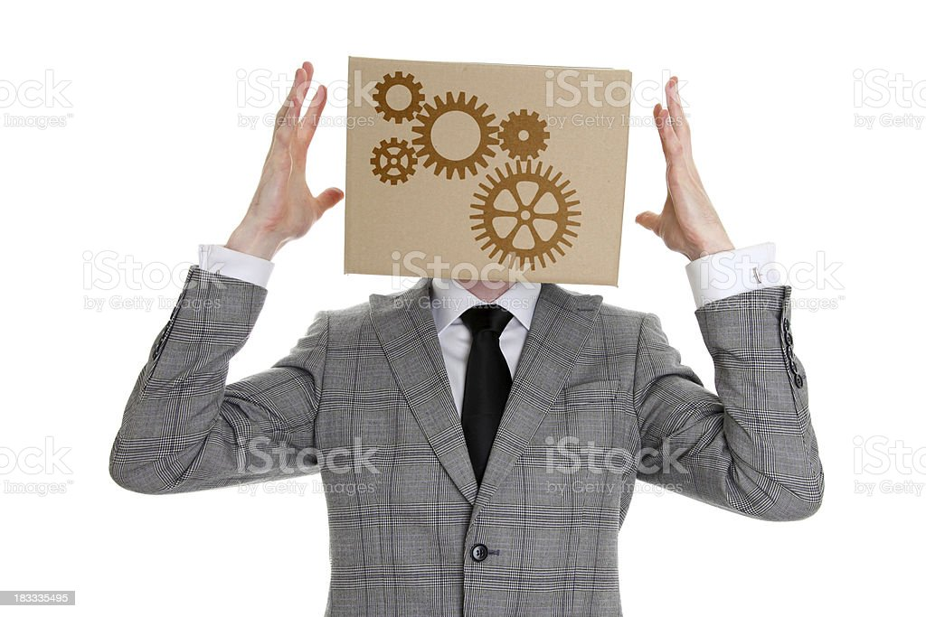 Box head - cogs and gears royalty-free stock photo