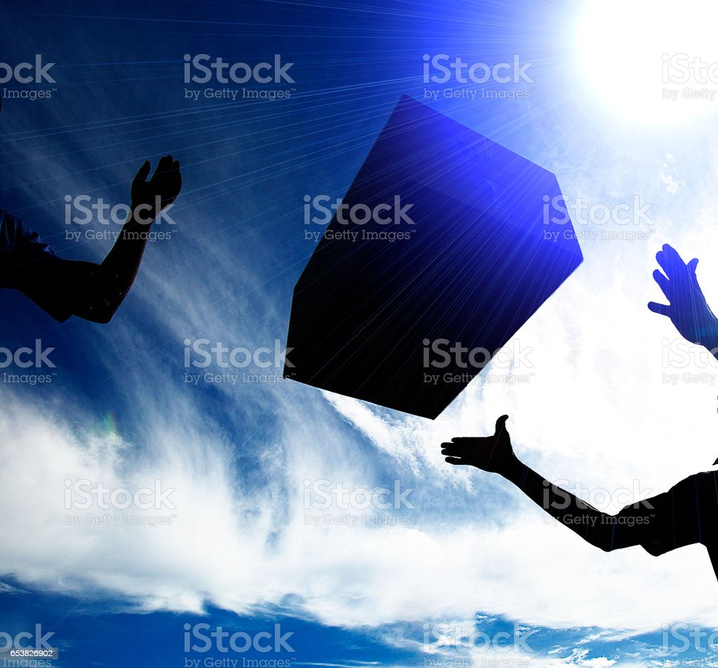 Box is throw and coaght stock photo