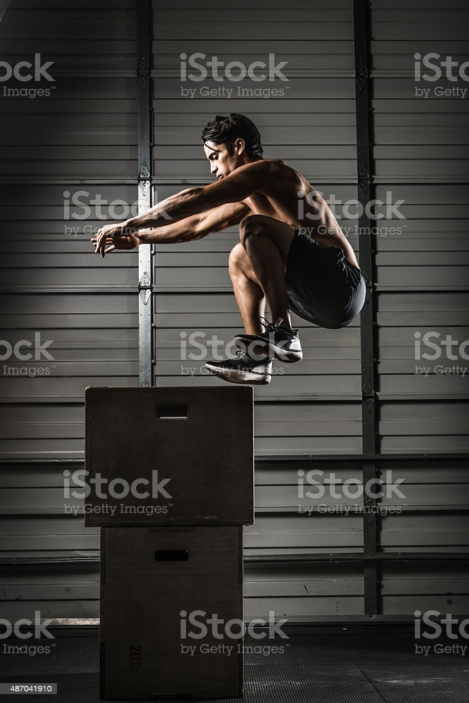 Box Jump gym stock photo