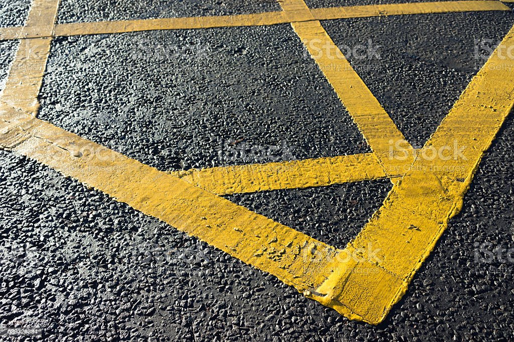 Box Junction hatched yellow paint stock photo