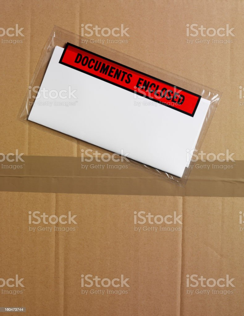 Box Lid and Documents stock photo