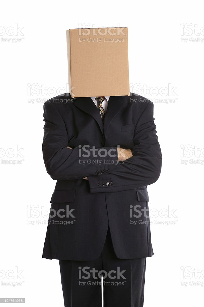 Box man arms folded stock photo