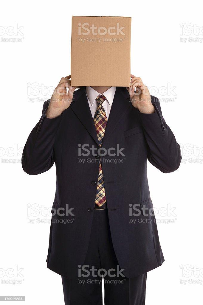 Box man reveal stock photo