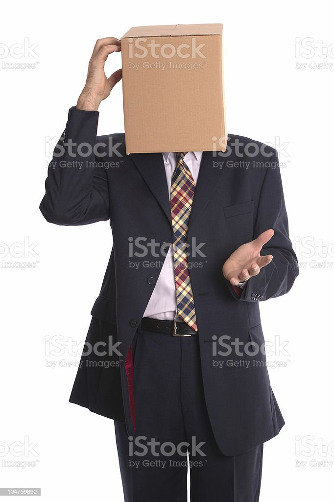 Box Man - Thinking stock photo