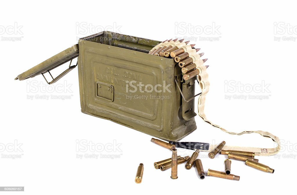 box of ammunition with cartridges stock photo