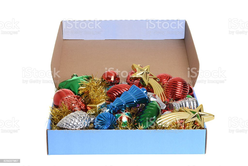 box of antique christmas ornaments stock photo