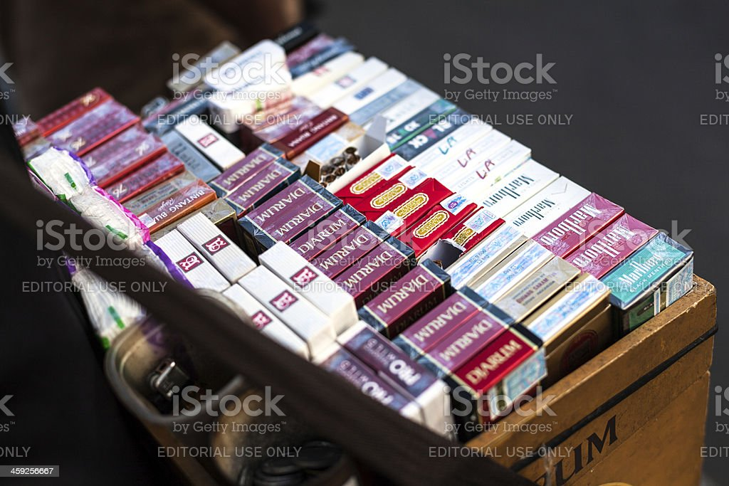 Box of Asian Cigarettes royalty-free stock photo
