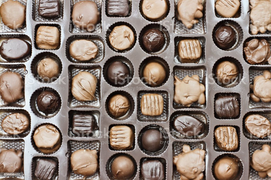 Box of Assorted Chocolate Valentine Candy stock photo
