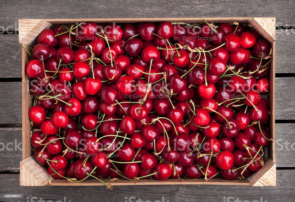 Box of cherries stock photo