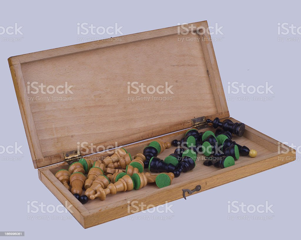 Box of chess pieces - Stock Image royalty-free stock photo
