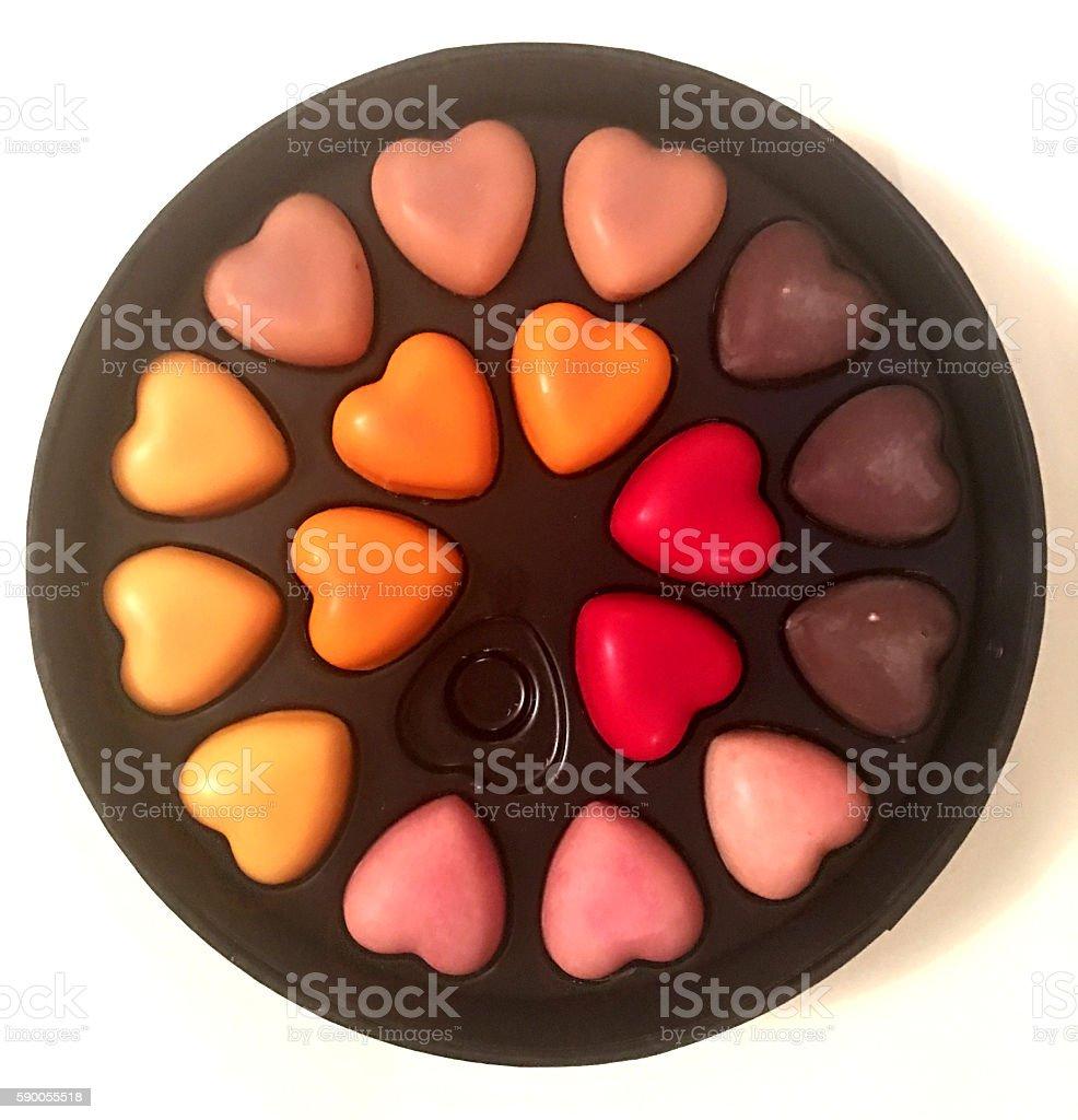 Box of chocolate hearts stock photo