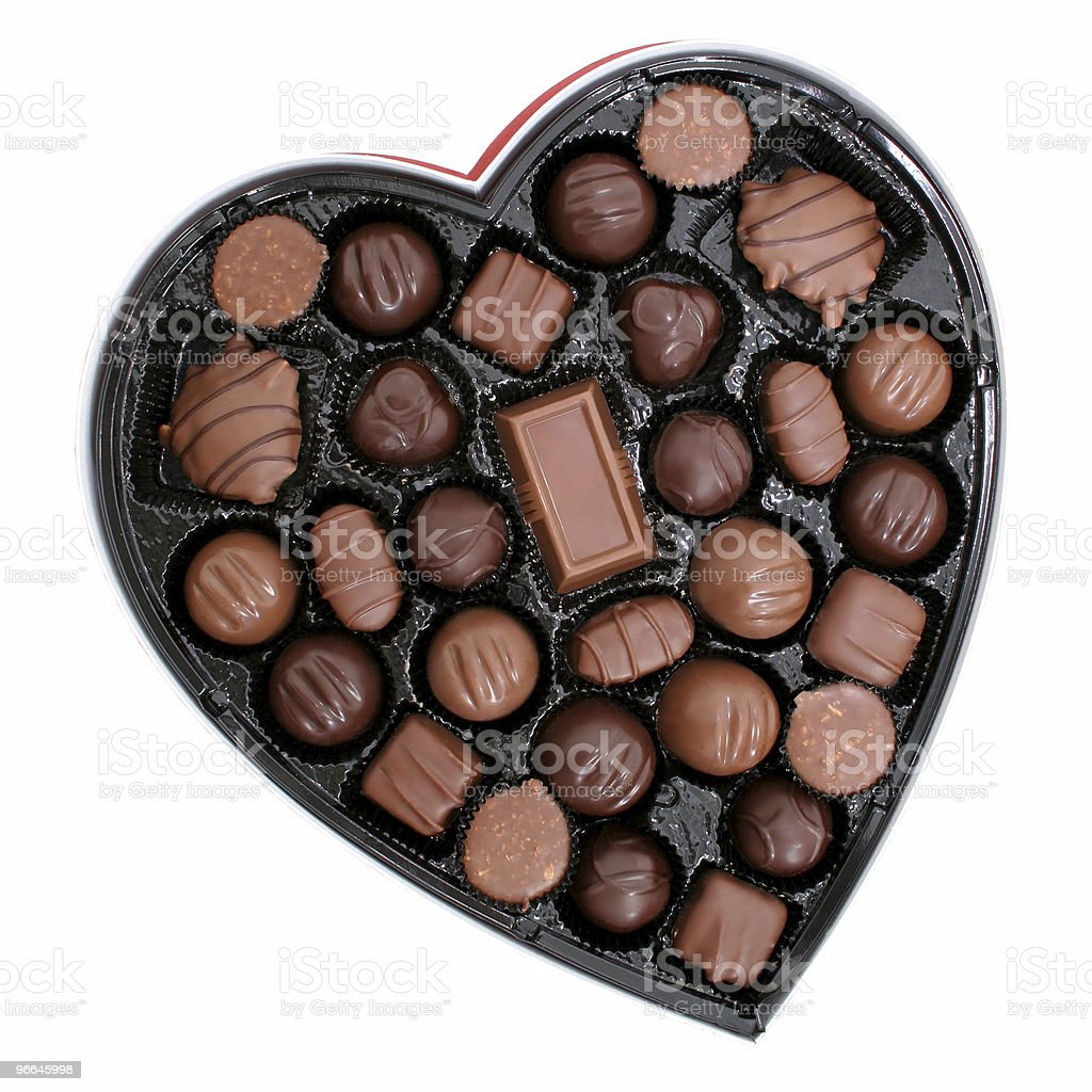 Box of Chocolates in a Heart Shape stock photo