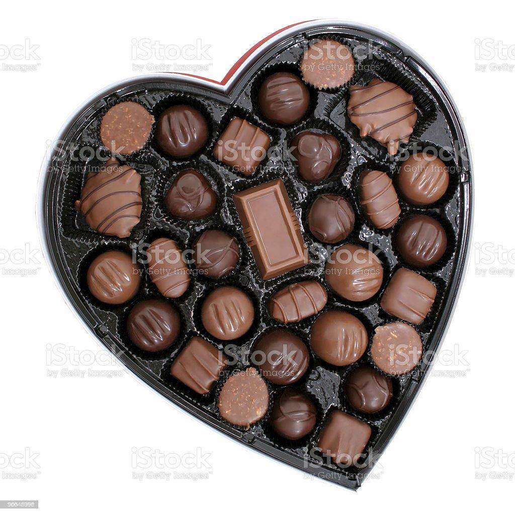 Box of Chocolates in a Heart Shape stock photo