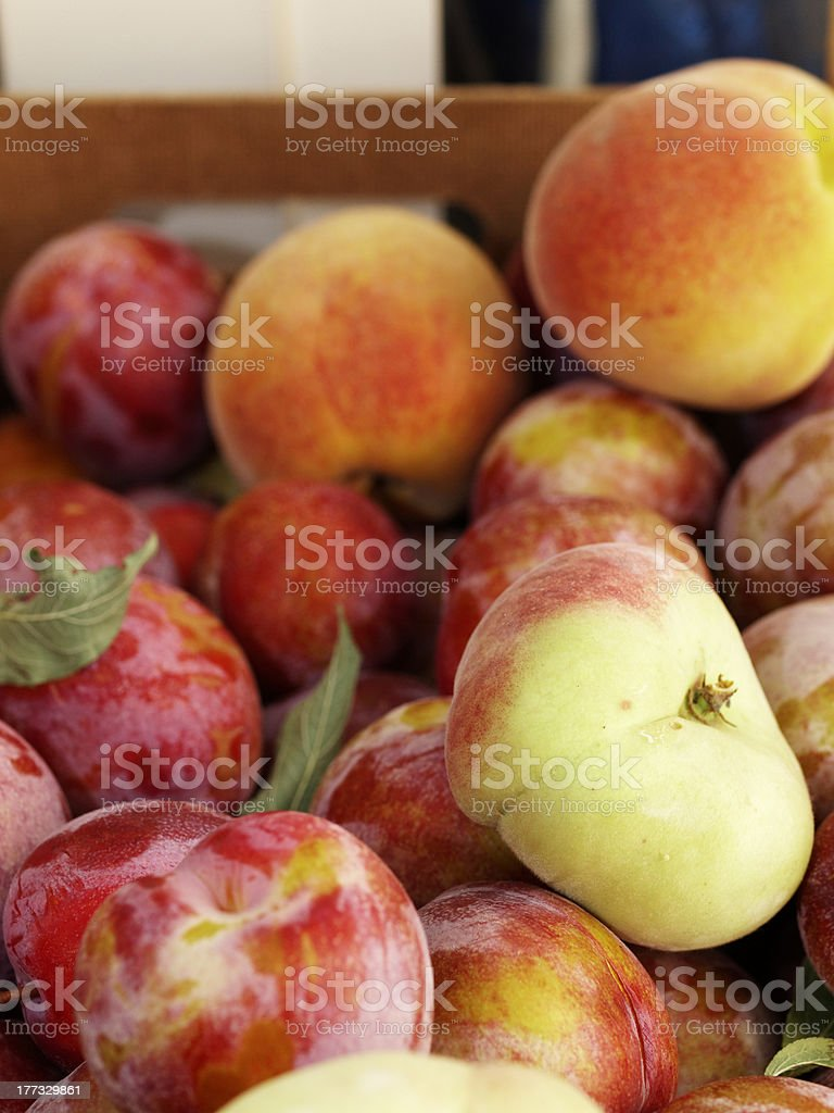 box of fresh fruit grocer flat peaches red plums royalty-free stock photo