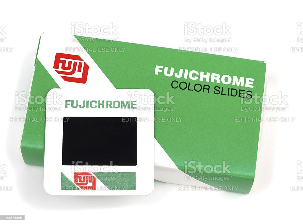 Box of Fujichrome Color slides with one slide on top stock photo