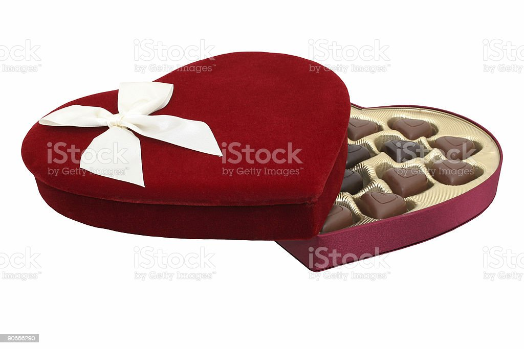 Box of Heart Shaped Chocolates with Clipping Path royalty-free stock photo
