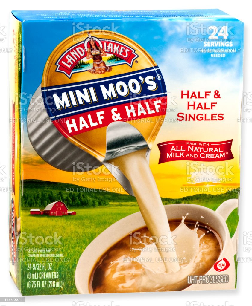 Box of Land O Lakes Mini Moo's Coffee Creamer Singles royalty-free stock photo