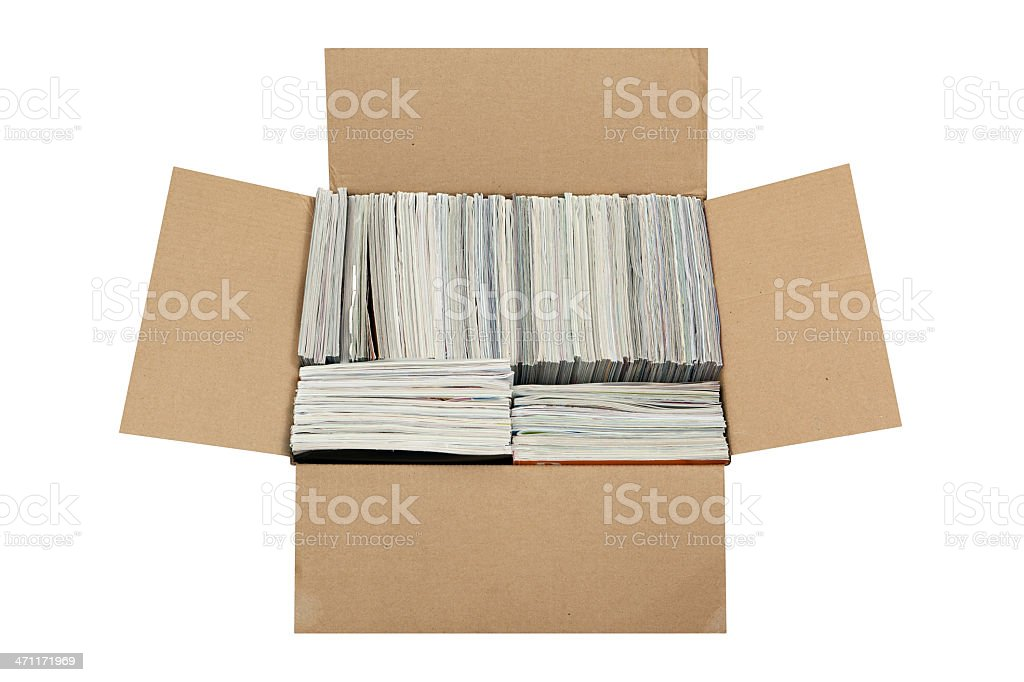 Box of Magazines stock photo