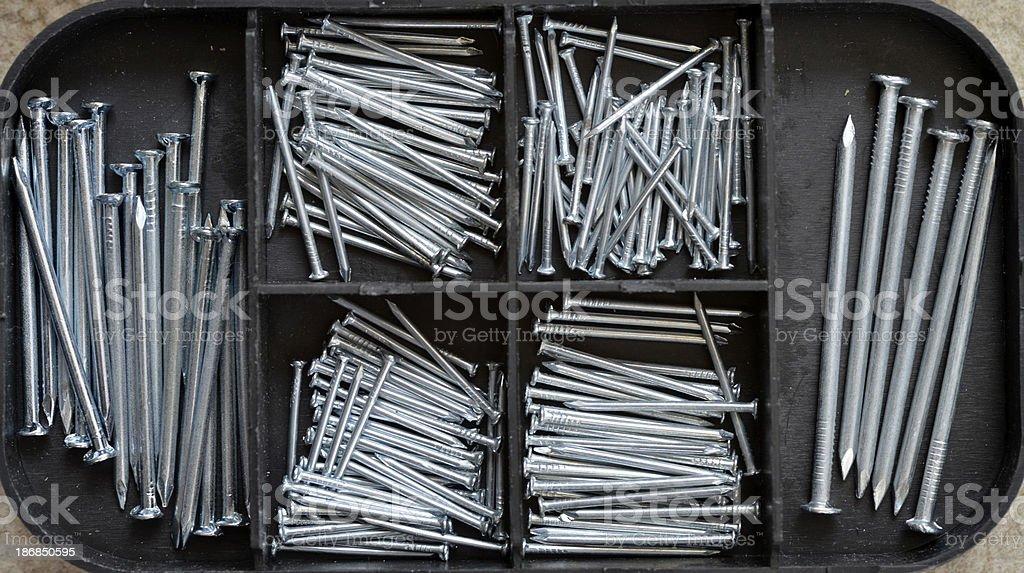 Box of nails. stock photo