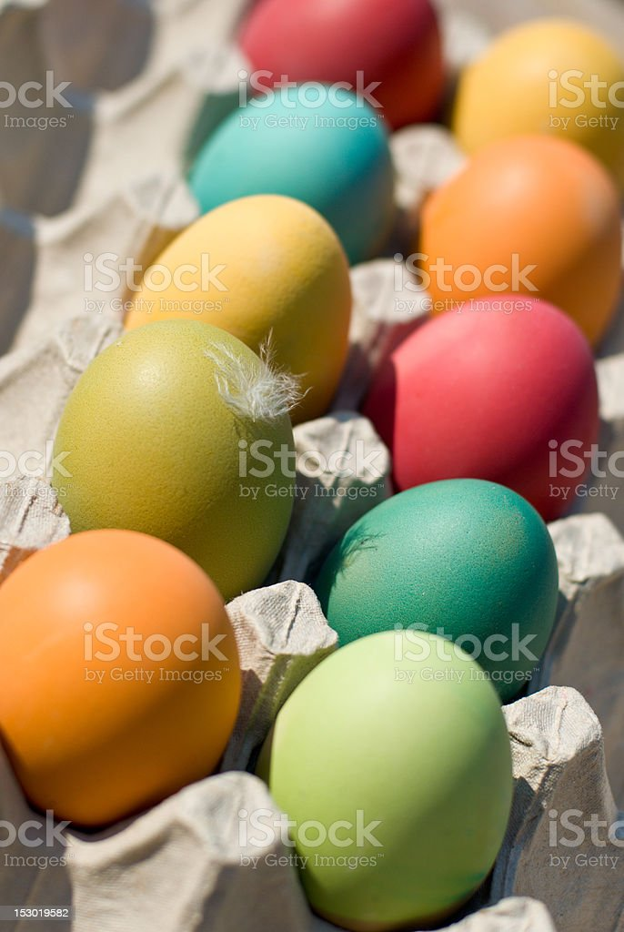 Box of pasch-eggs royalty-free stock photo