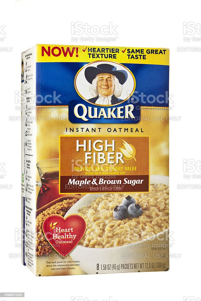 Box of Quaker Brand High Fiber Instant Oatmeal royalty-free stock photo