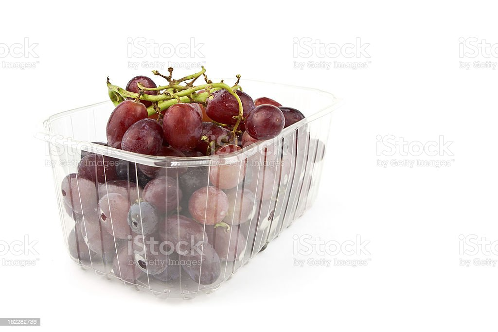 Box of Red Grapes royalty-free stock photo