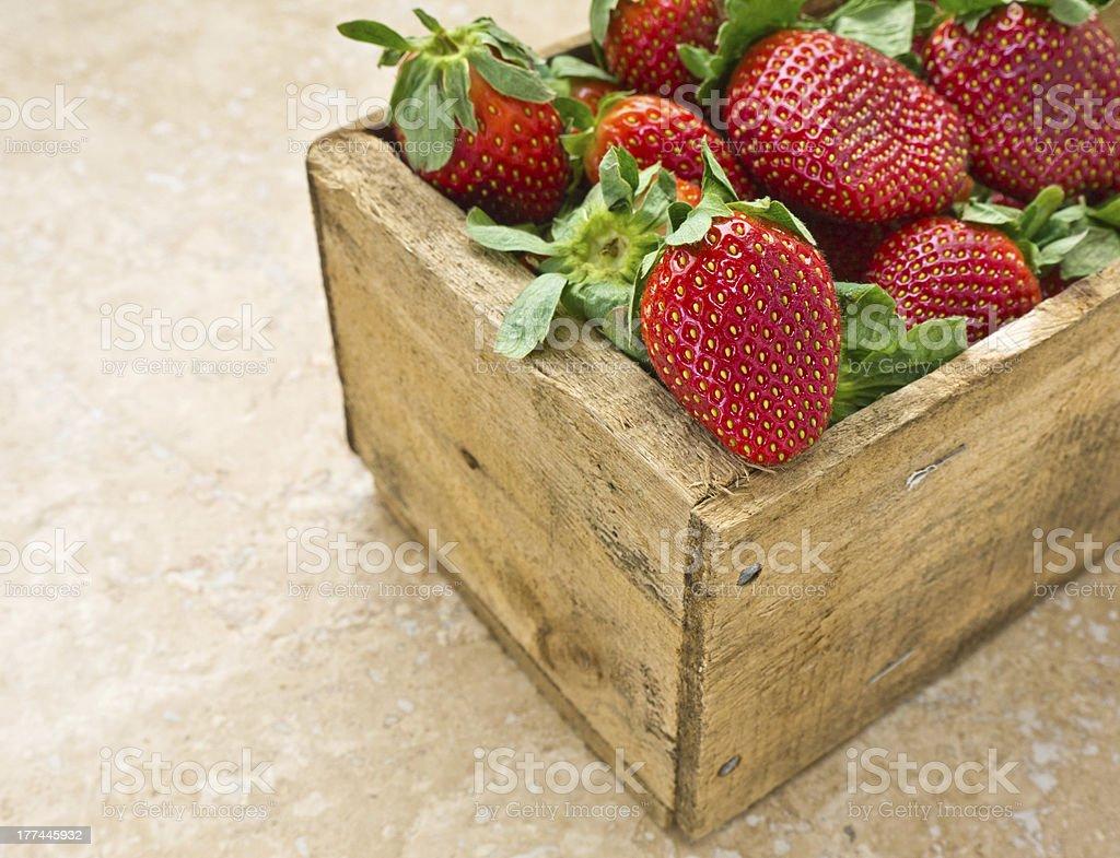 Box of ripe strawberries stock photo