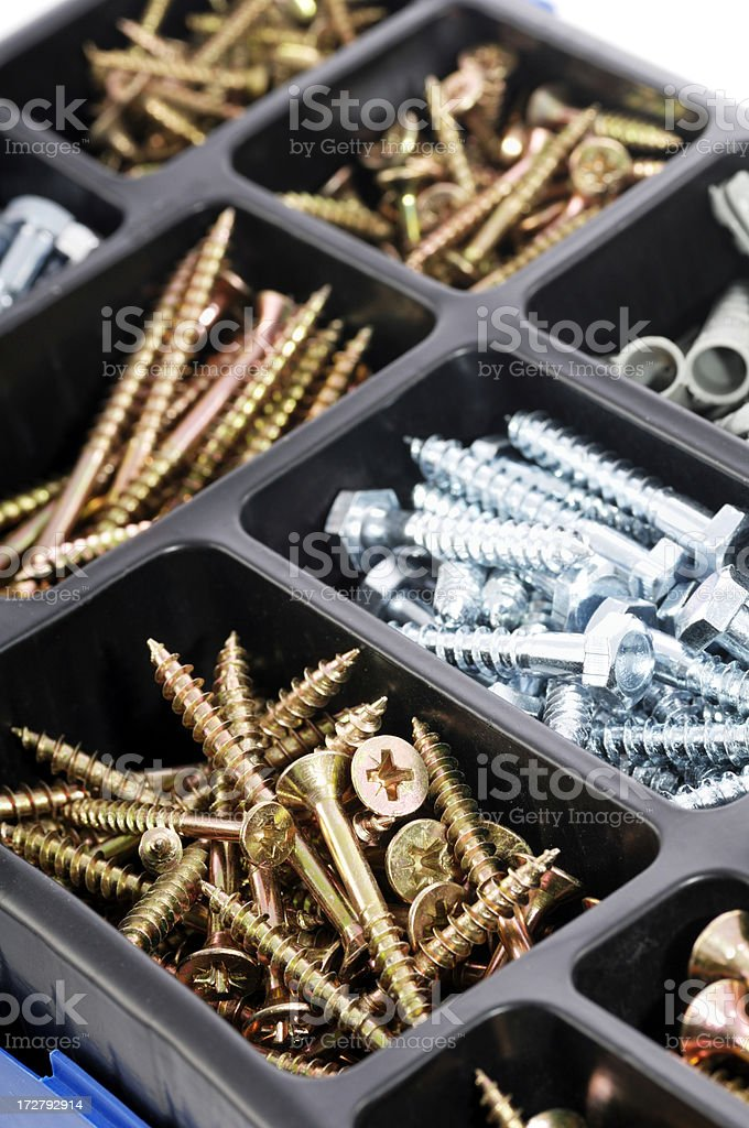box of screws and wall fixings royalty-free stock photo