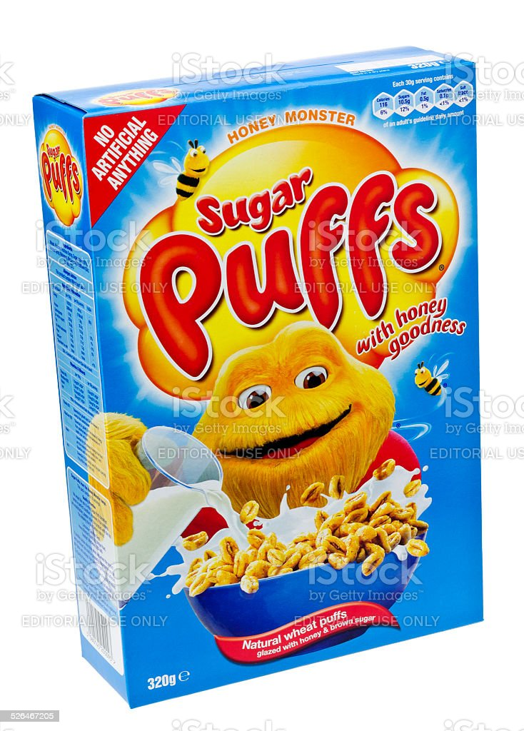 Box of Sugar Puffs Breakfast Cereal stock photo