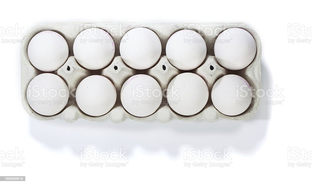 Box of ten white eggs, isolated royalty-free stock photo