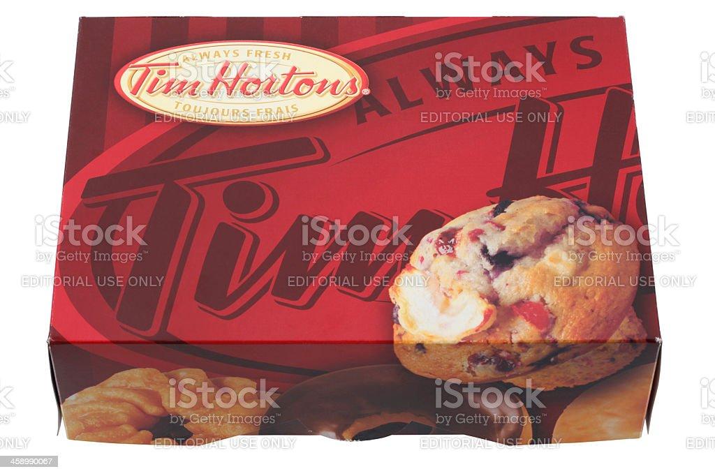 Box of Tim Hortons Donuts stock photo
