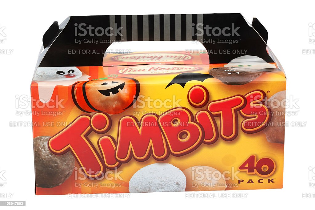 Box of Tim Hortons Timbits for Halloween stock photo