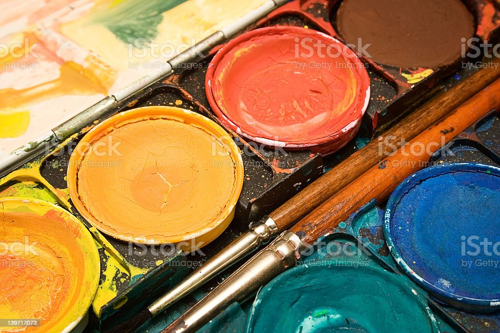 Box of  Watercolors (Close View) royalty-free stock photo