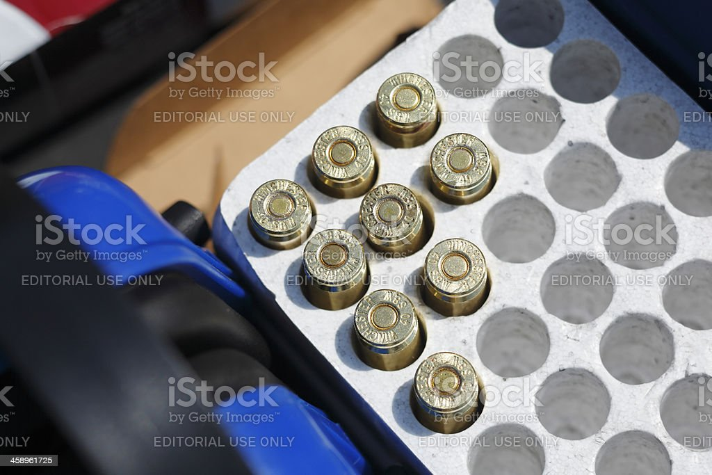 Box of Winchester 40 S&W bullets. stock photo